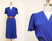 Vintage Blue Swiss Dot Swing Dress / Fluttery Short Sleeves / White & Blue Polka Dot / 80s Dress / MEDIUM