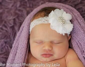 White Baby Headband, Baby Headband,  Infant Headband, Newborn Headband, Baptism Headband, Christing Headband