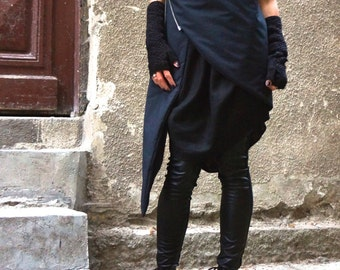 NEW Asymmetric Extravagant Black Sleeveless Quilted Coat / Warm Waterproof  / Windproof Vest by Aakasha A07148