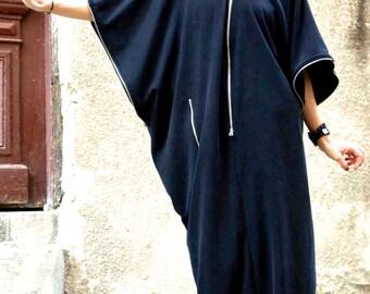 NEW SPRING Collection  Black  Kaftan / Maxi Black French Terry  Cotton Dress / Asymmetrical Zipper Caftan Dress by AAKASHA A03163
