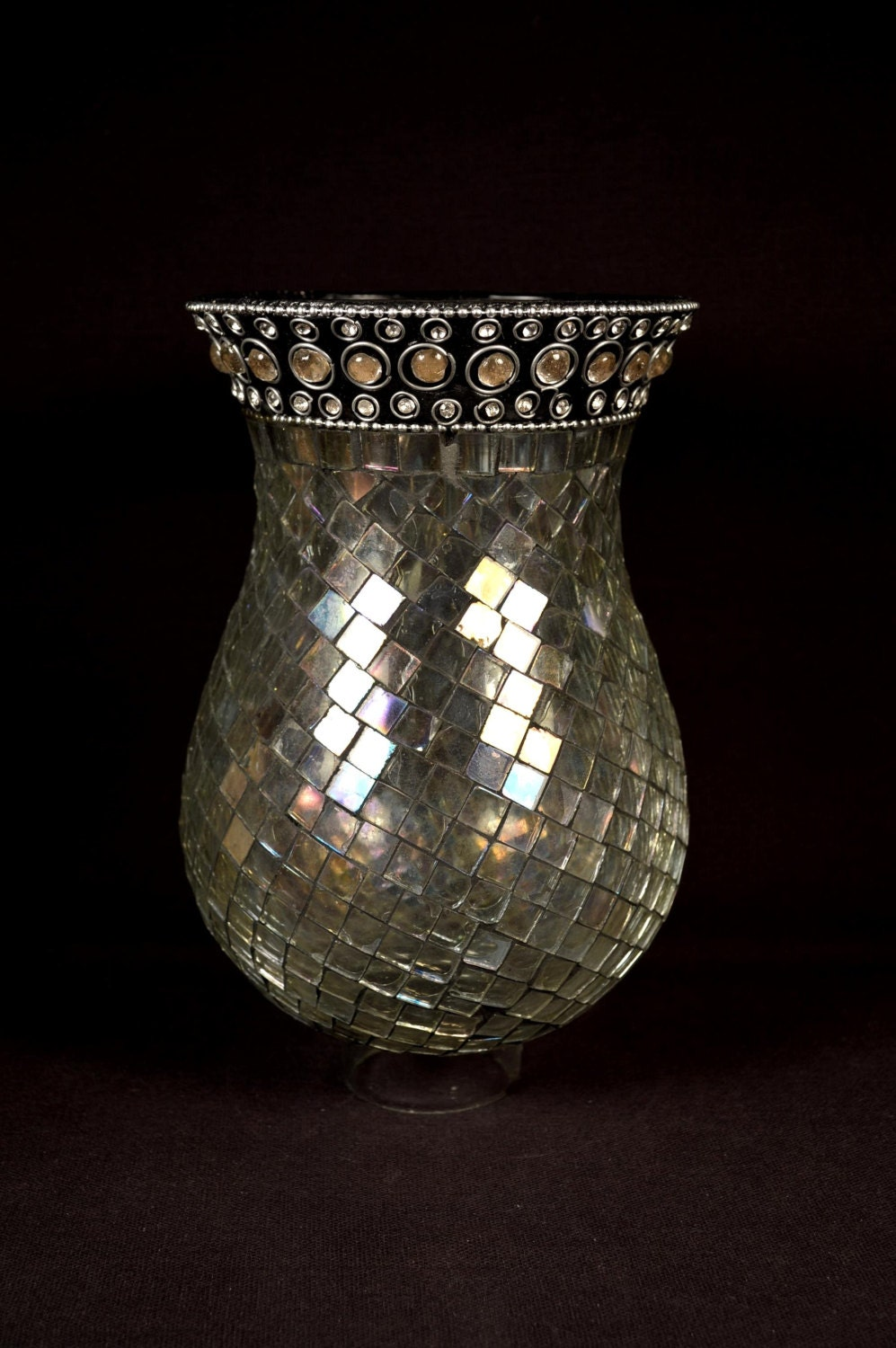 Wall Sconce Replacement Hurricane Glass : Glass Mosaic Hurricane Shade Lamp Wall Sconce Replacement