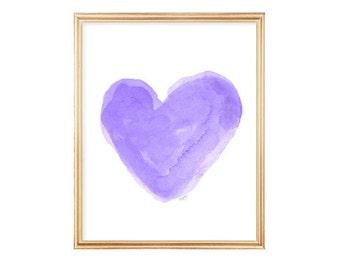Purple Nursery Decor, Watercolor Heart Art Print 8x10, Lavender Nursery Art, Purple Girls Decor, Lavender Wall Art, Purple Girls Room