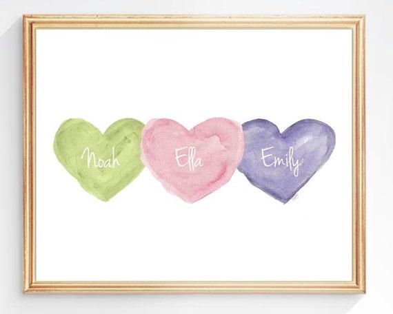 Triplets Nursery Gift, 8x10 Personalized Watercolor Hearts