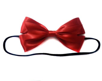 Snow White Inspired Hair Bow, Red Ribbon Hair Bow, Red Satin Hair Bow
