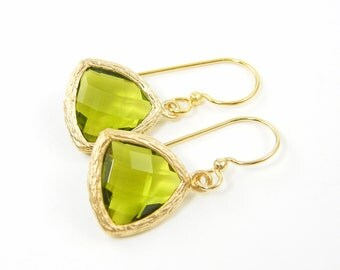 Peridot Green Earrings Peridot Drop Earrings August Birthday Birthstone Green Gold Dangle Earrings |PG1-2