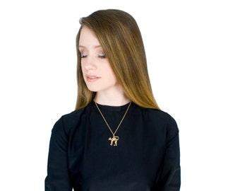Cat Necklace Gold Totem Pendant Medium Length