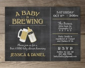 A Baby is Brewing Brewery Baby Shower Invitation • guy friendly • co-ed BBQ baby shower • chalkboard Invitation • baby bottle • printable
