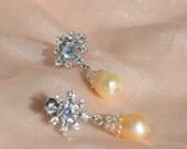 Snowflake Pearl Earrings, Freshwater Pearl Drops, Silver Bridal Earrings, Winter Wedding, Rhinestone, Bridesmaids, Vintage Wedding