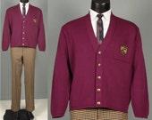 Vintage Mens 1980s Sweater -- Johnny Carson Eggplant Cotton Cardigan -- Preppy Trad Crest Pocket Mens Size Large