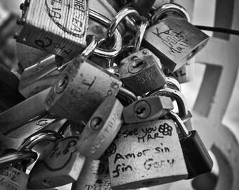 Love Locks on Dublin, Ireland Halfpenny or Ha'Penny Bridge - Black and White - Home Decor Photography