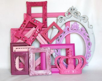 Pink Ornate Frame collection gallery wall little girls room or nursery