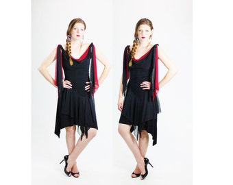 1990s Witchy Stevie Nicks Black Red Sheer Handkerchief Hem Vampire Gypsy Dress