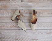 1970s Platform Shoes - Vintage 70s Cream Shoes - All Night Long Shoes