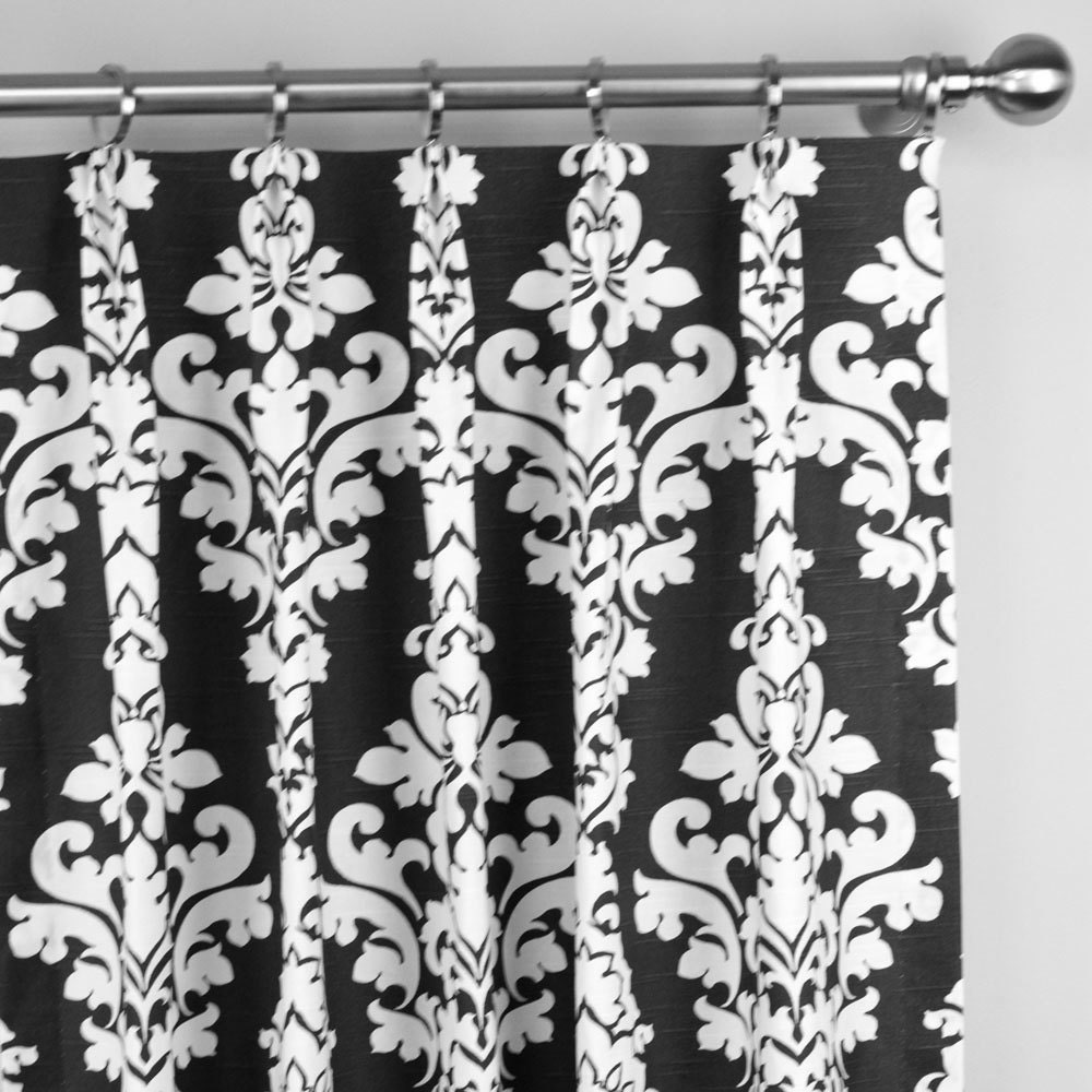 Black White Berlin Large Damask Floral Curtains Pinch Pleat