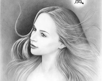 Four Elements: Wind - 11x14 original pencil drawing - Free shipping