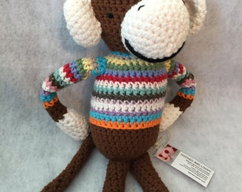 Big Amigurumi Monkey Stuffed Animal - With or Without Sweater - Your Choice