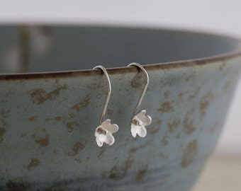 Silver Tiny Flower Blossom Earrings     PMC Fine Silver Clay Flower Earrings    Handmade Recycled Silver Jewellery