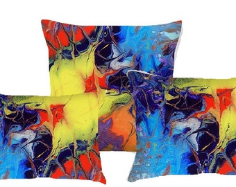 Decorative Throw Pillows.featuring original abstract artwork printed on 3 custom pillows. Unique home decor