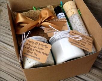 Green Tea Spa Gift Set, Mother's Day Gift Bath Set, Soap Gift Set with Soap, Lotion, Body Scrub, Lip Scrub and Lip Balm