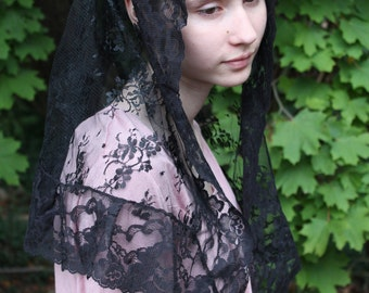 Chapel Veil/ Traditional Catholic Mantilla/  Lace Head Covering. The Maria Goretti.