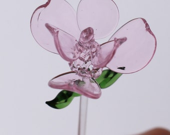 Hand Blown Glass Rose Flower with Long Stem