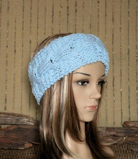 Headband, Chunky Knit Cable Head Wrap, Womens Blue Ear Warmer, Wool ...