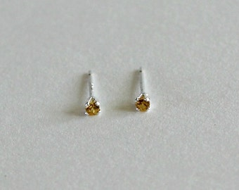 Tiny Topaz Stud Earrings -  November Birthstone Small Studs Yellow Gold Gift for Her