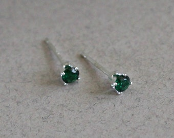 Small Emerald Stud Earrings - May Birthstone Tiny Green Studs - Gift For Her - Girl Earrings