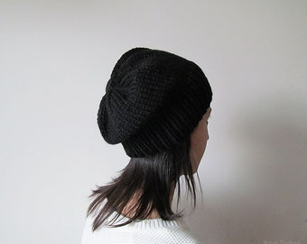 Hand Knitted Chunky Hat in Black - Sparkly Slouch Seamless Hat - Winter Hat - Wool Blend - Made to Order