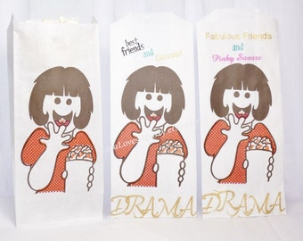 DRAMA Movie Popcorn Bags 15 Hand Stamped Retro Girl Popcorn Bags, NEW Party Favor Bags, Movie Night Party, Concessions, Food, Carnival