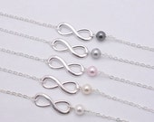 Set of 5 Infinity Pearl Bracelets, 5 Bridesmaid Infinity Bracelets, Infinity and Pearl Bracelets, 5 Bridesmaid Gifts - Silver Chain 0217
