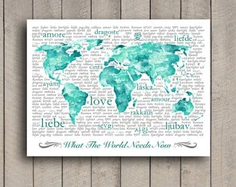 World map typography art pink aqua turquoise world map aqua watercolor world map typography art print with watercolor texture and love in various languages sciox Images