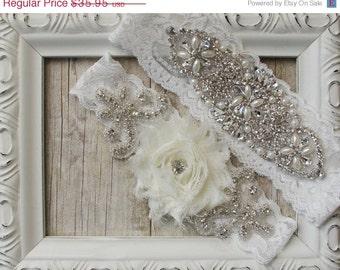 Customize Your Garter Set - Vintage Wedding Garter Set with ivory Rosette and Rhinestones on Comfortable Lace, Crystal Garter Set