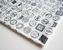 White Cotton Stamp vintage Post Office Mark Stamp fabric, Vintage Stamp, Quilt Patchwork100% cotton, gift wrap, curtain, ipad case, CT214