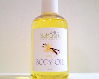 Vanilla Body Oil / Bath Oil / Massage Oil - All Skin Types  - Real Essential Oil - 100% Natural - Vegan  4 oz.