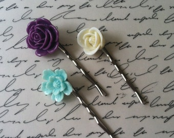 Flower Hair Pins - Bobby Pins - Set of 3 - Handmade - Hair Accessory - Stocking stuffers - Bridesmaid gifts
