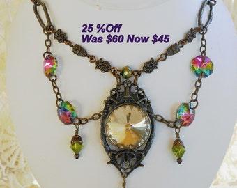 SALE!Best Deal 25%Off,Bargain,NeoVictorian Gothic Choker,Steampunk Cameo Rhinestone Crystal,Sparkle,Antique Brass,Statement Jewelry,