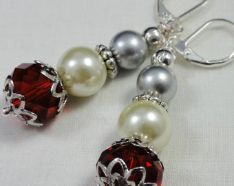 Holiday Earrngs, Party Earrings,  Silver White and Red Earrings, Christmas Earrings