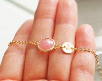 Blush Pink Bracelet, Pink Agate Bracelet with Initial Coin Bracelet, Bridesmaid Gift, Friendship Jewelry, Elegant Bracelet, Personalized
