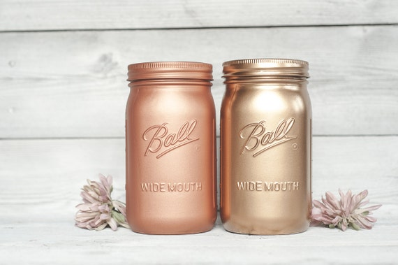 rose gold wedding painted mason jars holiday partys planters or. Black Bedroom Furniture Sets. Home Design Ideas