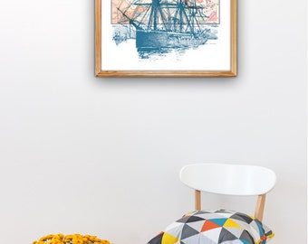 Old Ship Poster with Vintage map II - Art print A3 plus size Poster , sea life A3 plus Wall decor  Poster SPP03