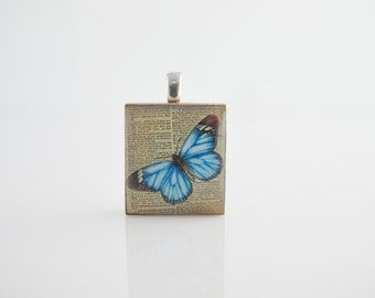 Blue Butterfly necklace - Morpheus pendant - Blue Butterfly on antique paper,  Scrabble Tile Pendant on Sterling Silver 925 bail & chain