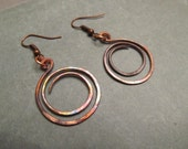 Copper Earrings Hoops Dark Spiral Wire Hammered Flame Coloured