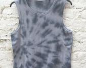 Vest Mens Tie Dye Tank Top size XL Black & Grey