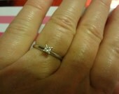 10k Diamond Solitaire Ring White Gold Engagement LSC Leo Schachter & Co Princess Cut Size 7 Promise Ring Band Wedding Ring Bride Groom