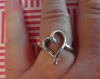 Silver Heart Ring 925 Sterling Silver Big Swirl Heart Birthday Best Friends Girlfriend Size 7 Gift Anniversary Love Heart Ring BFF