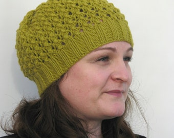 Knitted Beanie Lace Lime Green