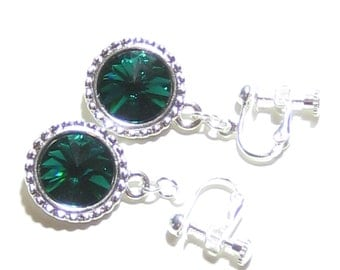 Emerald Green Swarovski Disc Earrings, Sterling Silver Leverbacks, Clip-On Dangle Earrings, Crystal Jewelry