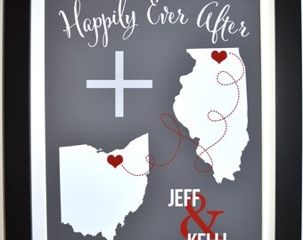 Personalized wedding gift, happily ever after print, customized long distance love print, couple print, custom states map, deployment gift
