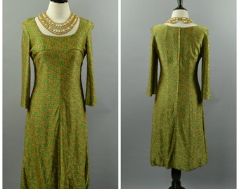 vintage Metallic Green Dress